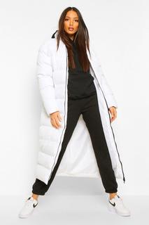 boohoo - Womens Tall Wattierter Longline-Mantel - Weiß - 32, Weiß