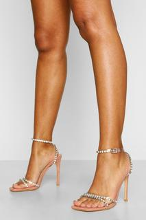 boohoo - Womens Embellished Clear Strap Stiletto Heels - Blush - 39, Blush