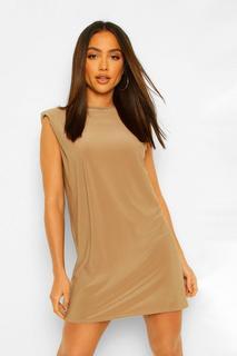 boohoo - Womens Shoulder Pad Open Back Shift Dress - Mocha - 34, Mocha
