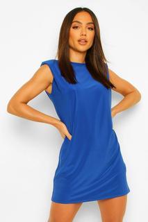 boohoo - Womens Shoulder Pad Open Back Shift Dress - Cobalt - 40, Cobalt