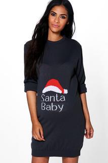 """boohoo - Womens Umstandsmode Weihnachtspulloverkleid Mit """"Santa Baby""""-Motiv - Grau - 34, Grau"""