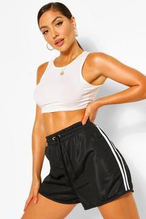 boohoo - Womens Jogging-Shorts Mit Bindegürtel Und Seitenstreifen - Schwarz - 34, Schwarz