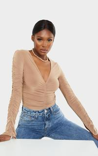 PrettyLittleThing - Tall Camel Slinky Split Cuff Ruched Blouse, Camel