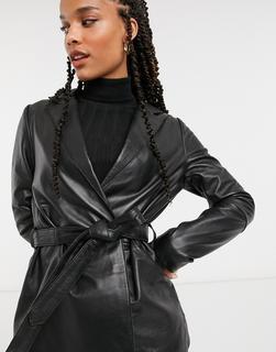 Muubaa - Leichte Lederjacke in Schwarz mit Taillenschnürung