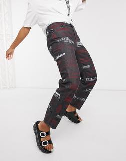 Love Moschino - Schwarze Mom-Jeans mit Logomuster
