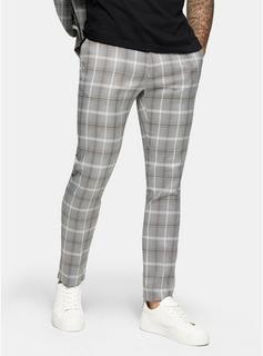Topman - Mens Grey Check Skinny Trousers, Grey