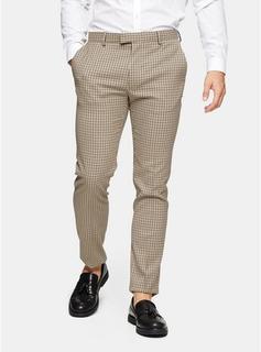 Topman - Mens Beige Stone Check Skinny Suit Trousers, Beige