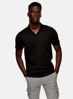 Topman - Mens Black Waffle Notch Polo Shirt, Black