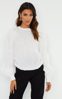 PrettyLittleThing - White Puff Sleeve Woven Blouse, White