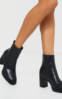 PrettyLittleThing - Black Slight Platform Basic Heeled Ankle Boots, Black
