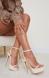 PrettyLittleThing - Cream PU Platform Strappy High Heel, White