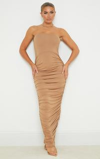 PrettyLittleThing - Camel Jersey Ruched Bandeau Midaxi Dress, Camel