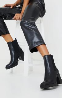 PrettyLittleThing - Black PU Scuba Panel Slight Platform Block Heel Ankle Boots, Black