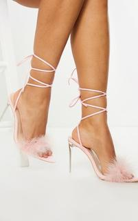 PrettyLittleThing - Pink Feather Lace Up Clear High Heels, Pink