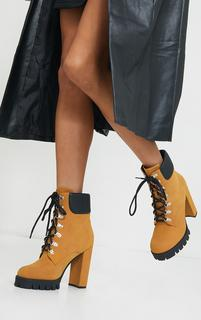 PrettyLittleThing - Tan Suede Contrast Pu Back Eyelet Lace Up Heeled Ankle Boots, Brown