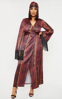 PrettyLittleThing - Multi Snake Printed Satin Fringe Kimono, Multi