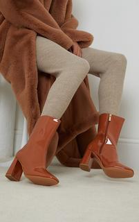 PrettyLittleThing - Toffee Patent Pu Contrast Heel Mid Heeled Ankle Boots, Toffee