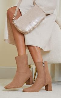 PrettyLittleThing - Tan Faux Suede Low Heeled Ankle Boots, Brown