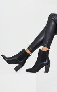 PrettyLittleThing - Black PU Square Toe High Block Heel Chelsea Ankle Boots, Black