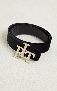 PrettyLittleThing - Gold Diamante Buckle Black Velvet Waist Belt, Black