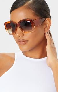 PrettyLittleThing - Orange Oversized Chunky Squareframe Sunglasses, Orange