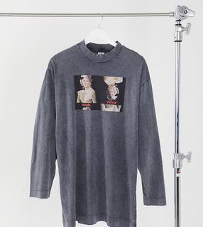 Collusion - T-Shirt-Kleid mit Print in Schwarz