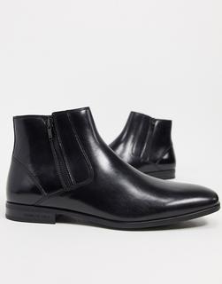 Kenneth Cole - Aaron – Chelsea-Stiefel mit Reißverschluss aus Boxleder in Schwarz