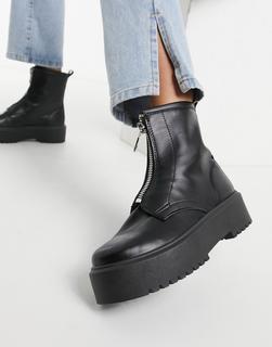 Topshop - Schwarze Stiefel mit dicker Sohle und Reißverschluss vorn