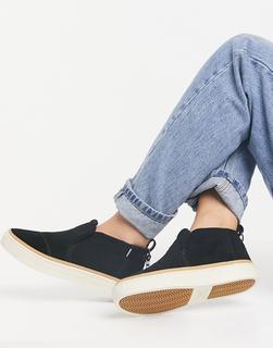 Toms - Paxton – Flatform-Stiefel zum Schlüpfen mit flauschigem Futter in Schwarz