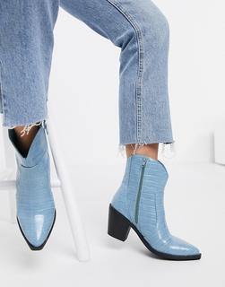 London Rebel - Ankle-Boots im Western-Style mit Kroko-Muster in Blau