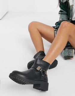 London Rebel - Schwarze Ankle-Boots mit Metallakzenten