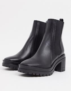 Schuh - Encourage – Wadenhohe Stiefel mit mittelhohem Absatz aus schwarzem Leder