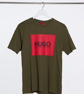 HUGO - Dolive U204 – T-Shirt mit Kastenlogo in Khaki, exklusiv bei ASOS-Grün