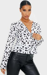 PrettyLittleThing - Black Woven Leopard Print Button Up Blouse, Black