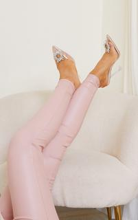 PrettyLittleThing - Nude Clear Diamante Sling Back Cake Stand High Heels, Pink