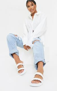 PrettyLittleThing - White PU Chunky Platted Twin Strap Footbed Sandals, White