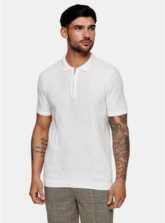 Topman - Mens White Diamond Zip Knitted Polo Shirt, White