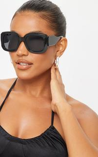 PrettyLittleThing - Black Oversized Chunky Squareframe Sunglasses, Black