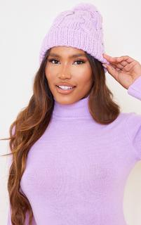 PrettyLittleThing - Lilac Oversized Cable Pom Pom Beanie, Purple