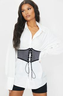 PrettyLittleThing - Black Diamante Lace Up Corset Belt, Black