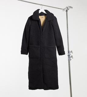 Brave Soul Tall - Brave Soul – Tall – Langer, schwerer Mantel aus Teddyfell-Schwarz
