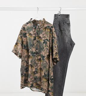 River Island - Big & Tall – Kurzärmliges Hemd in Khaki mit Blattprint-Grün