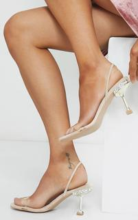 PrettyLittleThing - Nude High Metal Jewel Cake Stand Slingback Sandals, Pink