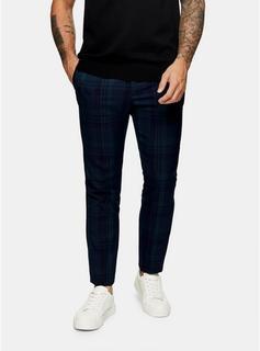 Topman - Mens Khaki Check Super Skinny Suit Trousers, Khaki