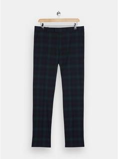 Topman - Mens Black Watch Check Skinny Suit Trousers, Black