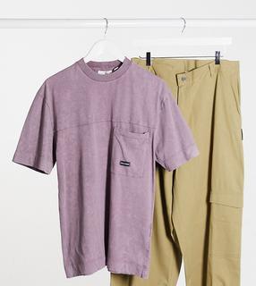 Collusion - Unisex – T-Shirt in verwaschenem Lila mit Tasche-Violett