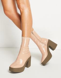 Truffle Collection - Schwarze Stiefel mit breitem Absatz in Rosa