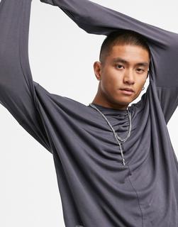 ASOS DESIGN - Legeres, langärmliges Shirt aus Viskose in verwaschenem Schwarz-Grau