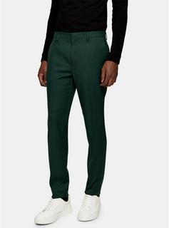 Topman - Mens Green Skinny Suit Trousers, Green
