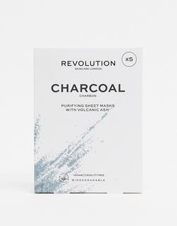 Revolution - Skincare – Biologisch abbaubare Tuchmasken mit reinigender Kohle im 5er-Set-Keine Farbe
